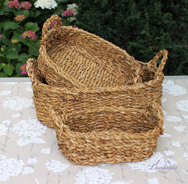 5f988f849 Oválny košík z morskej trávy prútené košíky