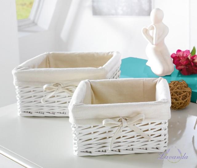 bf8eb7569 Biele prútené košíky s textilnou vložkou štvorcové, koše na chlieb