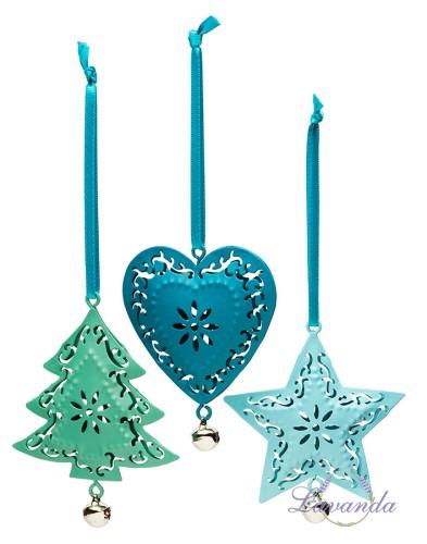 68ed383f7 Kovové vianočné ozdoby, ozdoby na vianočný stromček, modré, zelené