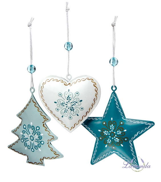d5883fb41 Vianočné ozdoby modré, sada 3 ks, hviezda, srdce a stromček