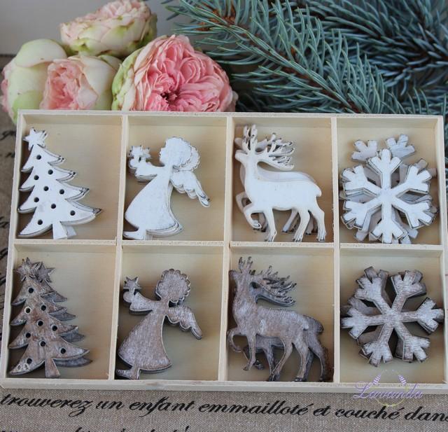 c35a18c2a Vianočné drevené ozdoby - sada 4 kusy