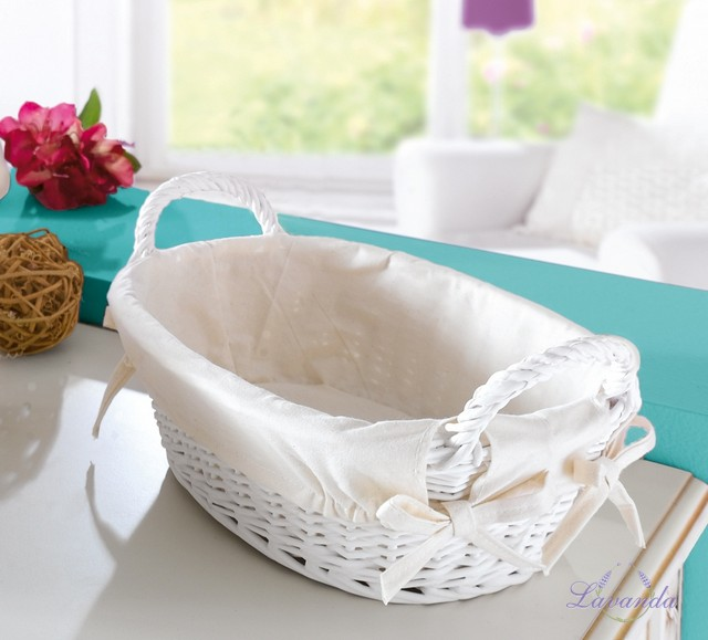 e0fa5adca Prútený košík s textilnou vložkou, biely